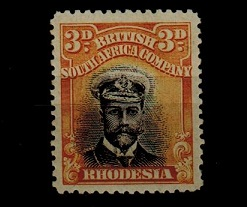 RHODESIA - 1913 3d black and buff
