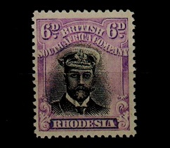 RHODESIA - 1913 6d black and mauve