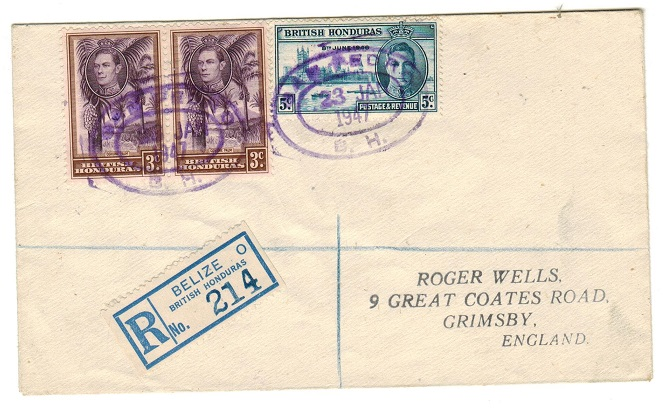 BRITISH HONDURAS - 1947 registered cover to UK used at SAN PERDRO.