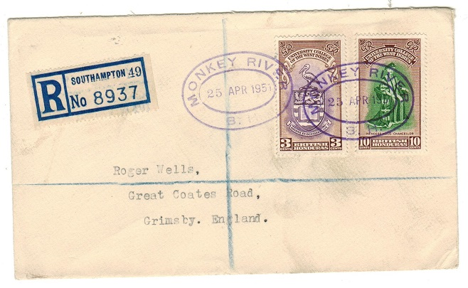 BRITISH HONDURAS - 1951 registered cover to UK used at MONKEY RIVER.