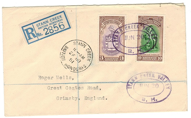 BRITISH HONDURAS - 1951 registered cover to UK used at STANN CREEK VALLEY.