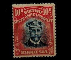 RHODESIA - 1913 10d blue and red