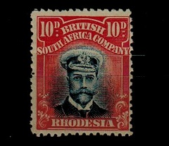 RHODESIA - 1913 10d blue and carmine-red