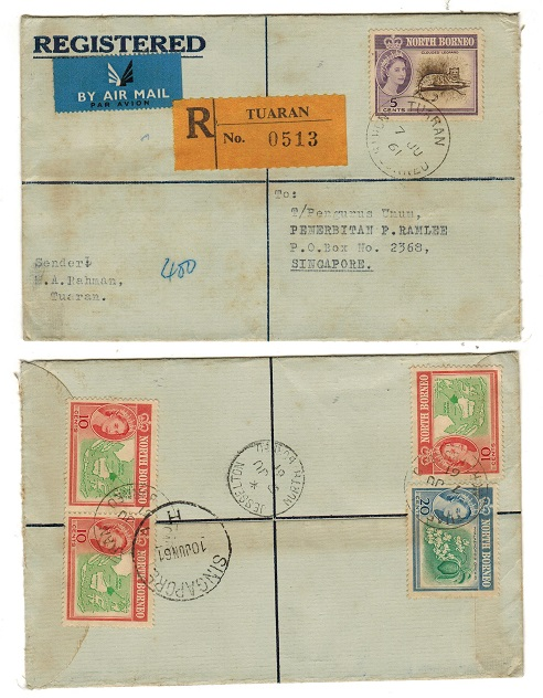 NORTH BORNEO - 1961 registered cover to Singapore used at TUARAN.