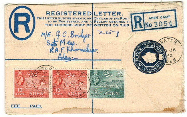 ADEN - 1953 30c dark blue RPSE used locally at CRATER.  H&G 3.