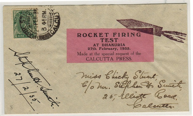 INDIA - 1935 first flight ROCKET MAIL from Dhakuria.
