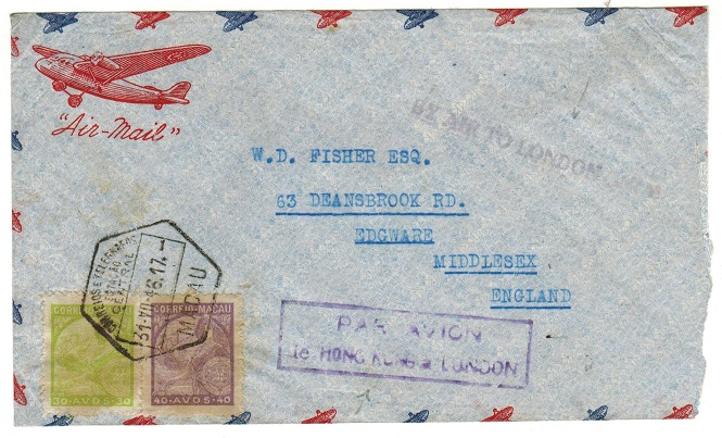 HONG KONG - 1946 transit cover from Macau to UK with BY AIR TO LONDON ONLY h/s.