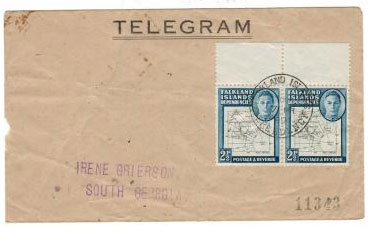FALKLAND ISLANDS - 1949 TELEGRAM envelope used from SOUTH GEORGIA.