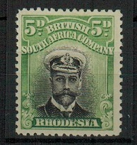 RHODESIA - 1913 5d black and green