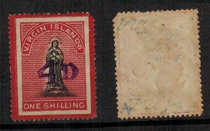 BRITISH VIRGIN ISLANDS - 1888 4d on 1/- surcharge mint with LONG TAILED S variety.  SG 42dc.