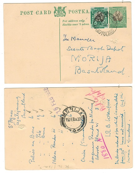 BASUTOLAND - 1932 use of South African 1/2d PSC uprated locally from TETATEYANENG.  H&G 11.