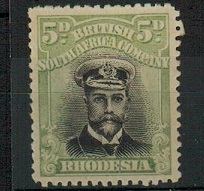 RHODESIA - 1913 5d black and pale green