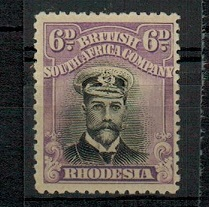 RHODESIA - 1913 6d black and reddish mauve