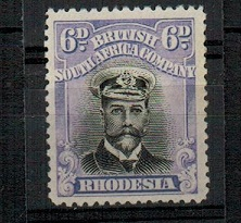 RHODESIA - 1913 6d black and dull mauve