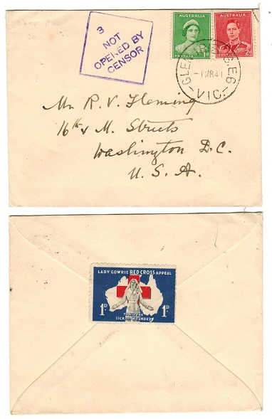 AUSTRALIA - 1941 3d rate cover to USA with 3/NOT/OPENED BY/CENSOR strike applied.