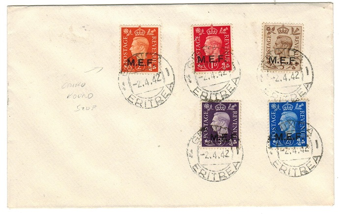 B.O.F.I.C. (Eritrea) - 1942 MEF set on unaddressed cover used at GHINDA with 2d
