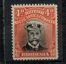RHODESIA - 1913 4d black and orange vermilion