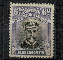 RHODESIA - 1913 6d jet black and lilac