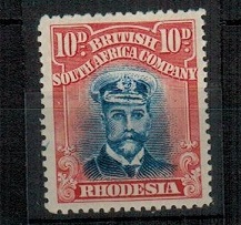 RHODESIA - 1913 10d bright ultramarine and carmine red