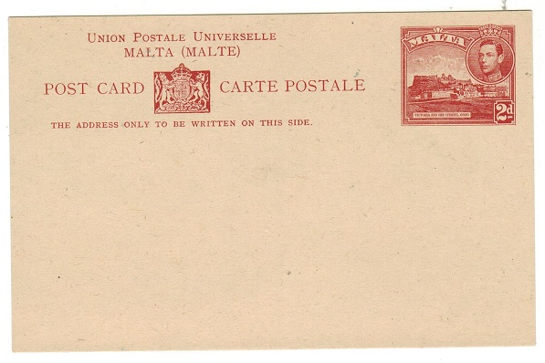 MALTA - 1942 2d dark red PSC unused.  H&G 19.