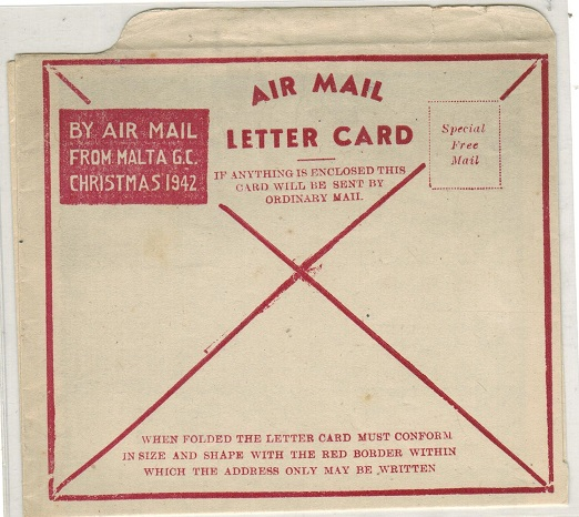 MALTA - 1942 special CHRISTMAS 1942/MALTA/LETTER CARD in red. Fine unused.
