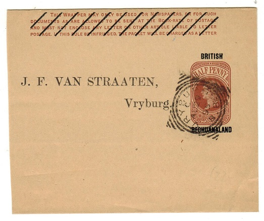 BECHUANALAND - 1889 1/2d red-brown postal stationery wrapper used at VRYBURG.  H&G 7.