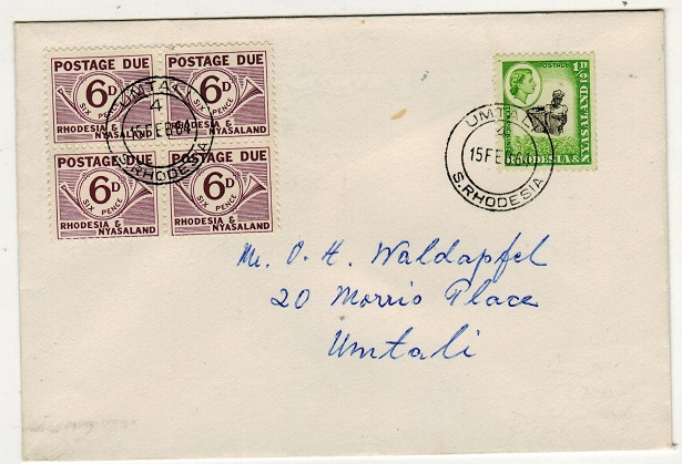 RHODESIA AND NYASALAND - 1964 local cover bearing 6d