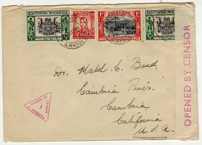 SOUTHERN RHODESIA - 1941 censor cover to USA used at AVONDALE.