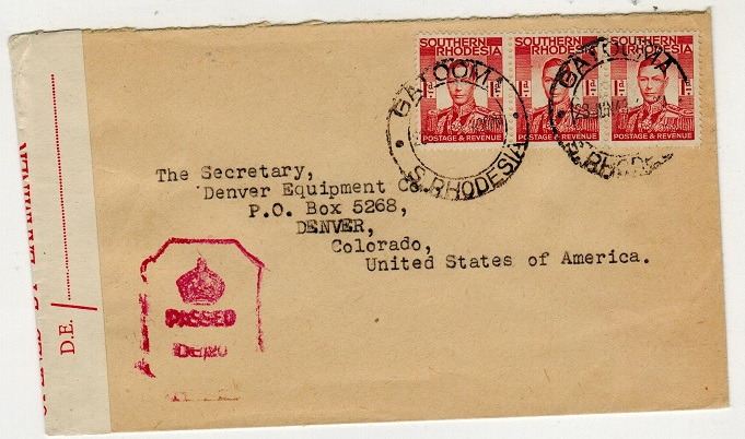 SOUTHERN RHODESIA - 1943 censor cover to USA used at GATOOMA.