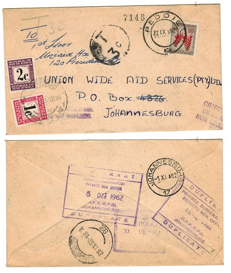 SOUTH AFRICA - 1962 underpaid cover to Johannesburg with 1c and 2c