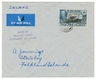 FALKLAND ISLANDS - 1951 Government Air Service cover.