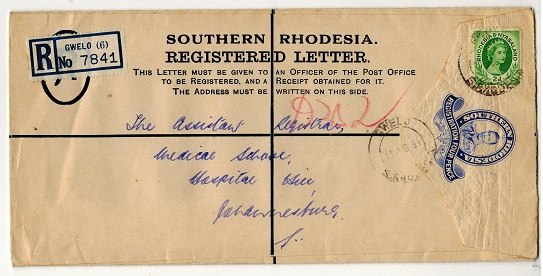 SOUTHERN RHODESIA - 1937 4d ultramarine RPSE to Johannesburg used at GWELO.  HG& 7.