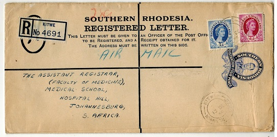 SOUTHERN RHODESIA - 1937 4d ultramarine RPSE to Johannesburg used at KITWE.  H&G 7.
