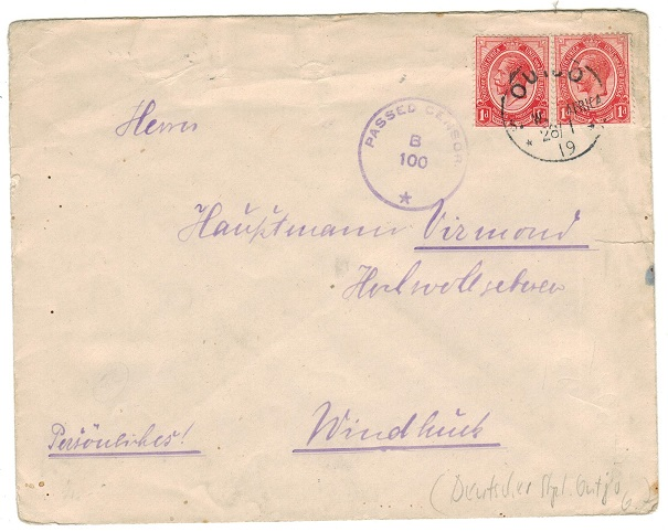 SOUTH WEST AFRICA - 1919 1d rate local censor cover used at OUTJO.