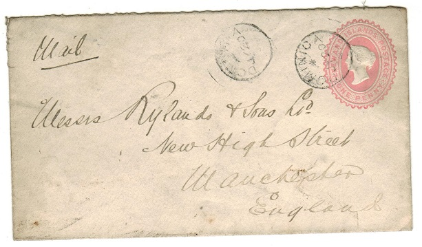 DOMINICA - 1891 1d pink PSE of Leeward Islands to UK used at DOMINICA.  H&G 1a.
