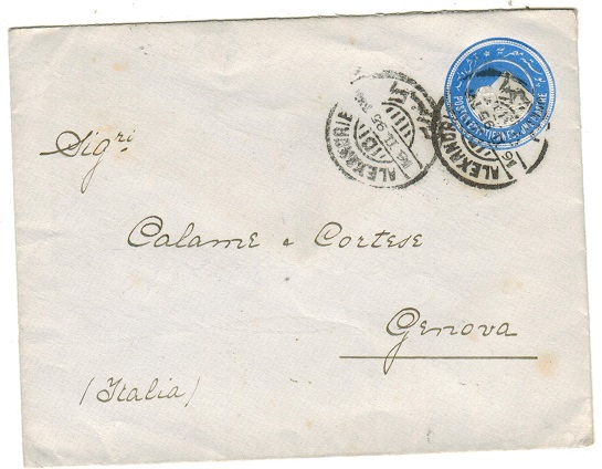 EGYPT - 1889 1p ultramarine PSE to Italy used at ALEXANDER.  H&G 2.