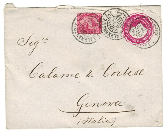 EGYPT - 1889 5m carmine PSE to Italy used at ALEXANDER.  H&G 6.