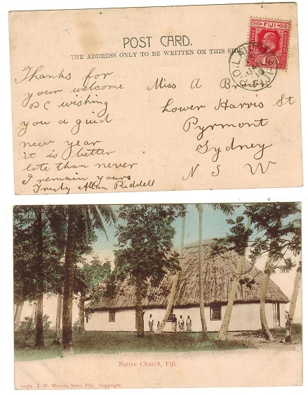 FIJI - 1910 1d rate picture postcard use to Australia used at LAUTOKA.