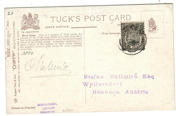 FIJI - 1914 1d rate picture postcard use to Australia used at SUVA.