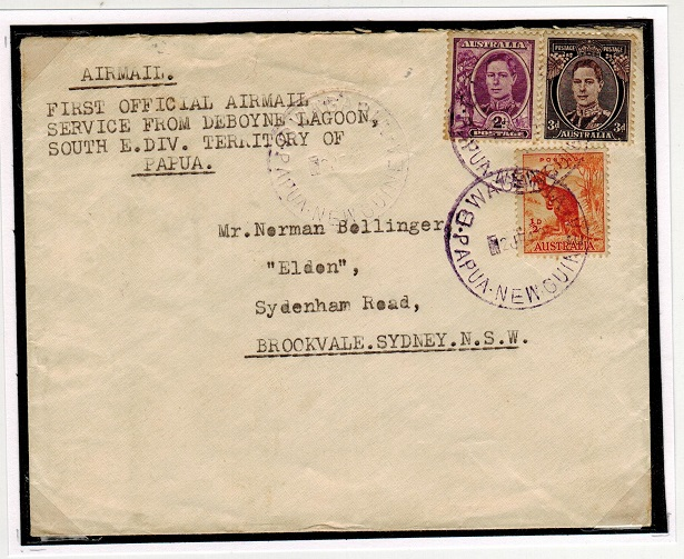 PAPUA - 1949 first flight cover to Australia.