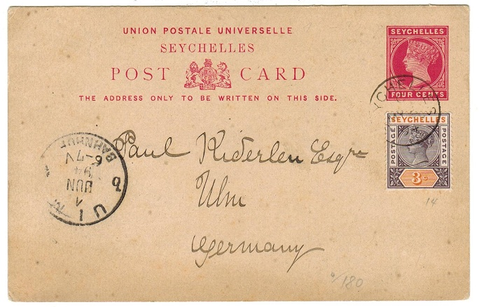 SEYCHELLES - 1890 4c PSC used to Germany uprated with 3c. No message.  H&G 1.