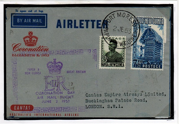 PAPUA - 1953 FORMULA air letter to UK used at PORT MORESBY.