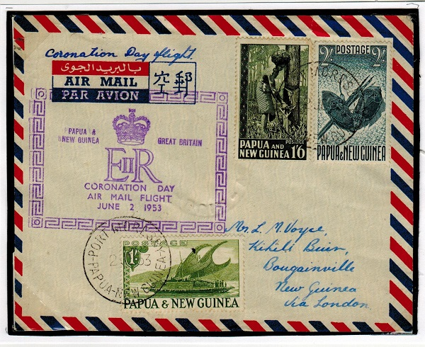 PAPUA - 1953 first flight cover to Bougainville.