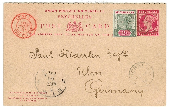 SEYCHELLES - 1890 4c+4c PSRC used to Germany uprated with 2c. No messge.  H&G 4.