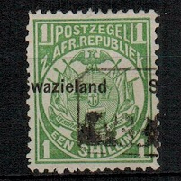 SWAZILAND - 1889 1/- green used with MISPLACED OVERPRINT.  SG 3.