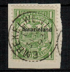 SWAZILAND - 1889 1/- green on piece cancelled EMBEKELWENI.  SG 3.