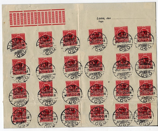 TOGO - 1920 (SEP.29.) use of 24 1d adhesives tied LOME/TOGO on sheet.