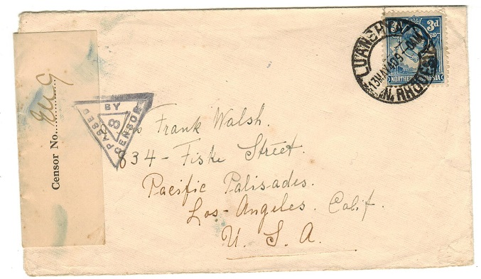 NORTHERN RHODESIA - 1944 3d rate censor cover to USA used at LUANSHYA.