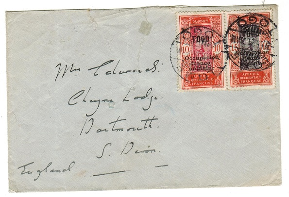 TOGO (French) - 1921 25m rate cover to UK used at LOME.