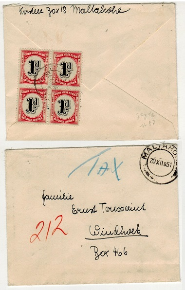 SOUTH WEST AFRICA - 1956 underpaid local cover with 1d